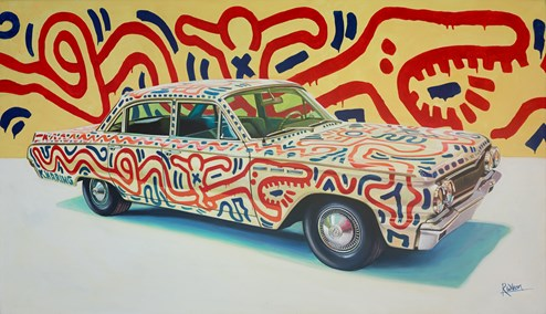 1963 Buick Special by Keith Haring by Roz Wilson - Original Painting on Stretched Canvas
